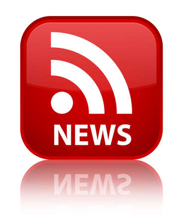 news current events: News (RSS icon) red square button Stock Photo