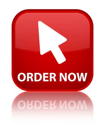 cursor: Order now (cursor icon) red square button Stock Photo