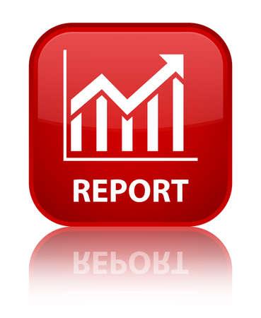 Report (statistics icon) red square button photo