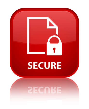 encrypted files icon: Secure (document page padlock icon) red square button