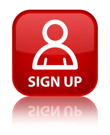 sign up: Sign up (member icon) red square button