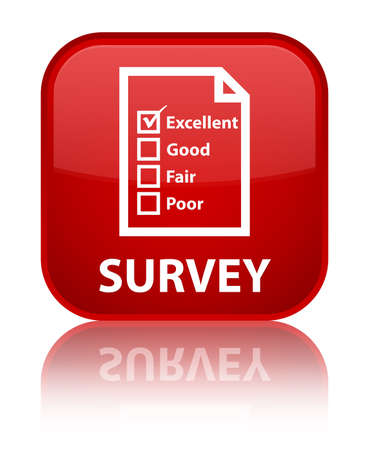 customer survey: Survey (questionnaire icon) red square button