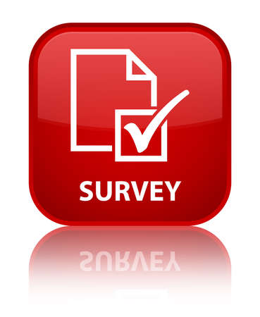 Survey red square button photo