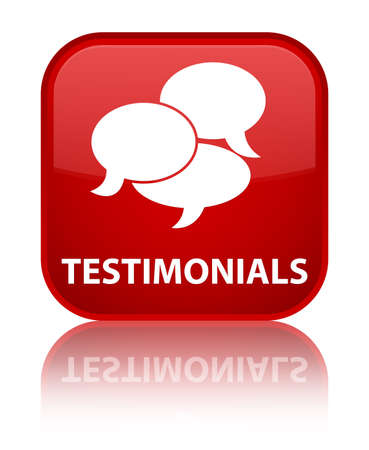 authenticate: Testimonials (comments icon) red square button Stock Photo