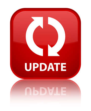 update: Update red square button Stock Photo