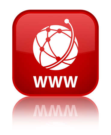 www: WWW (global network icon) red square button Stock Photo