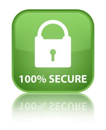 key hole shape: 100% secure soft green square button Stock Photo