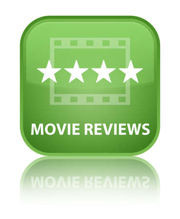 ratings: Movie reviews soft green square button Stock Photo