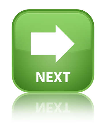 go forward: Next soft green square button Stock Photo