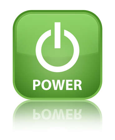 green power: Power soft green square button Stock Photo