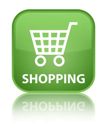 technology transaction: Shopping soft green square button