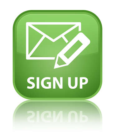 registry: Sign up (edit mail icon) soft green square button Stock Photo