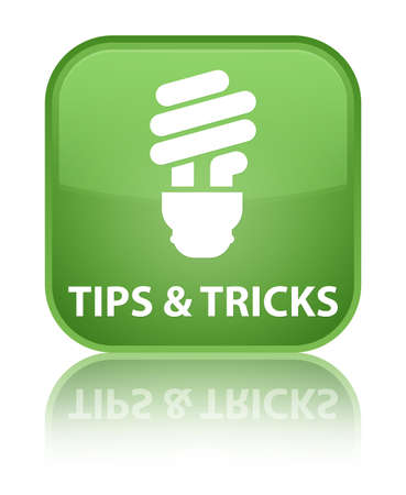 incandescence: Tips and tricks (bulb icon) soft green square button Stock Photo