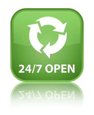 refresh icon: 247 open (refresh icon) soft green square button Stock Photo