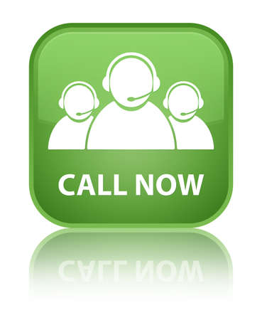 Call now (customer care team icon) soft green square button photo