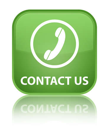 phone us: Contact us (phone icon round border) soft green square button