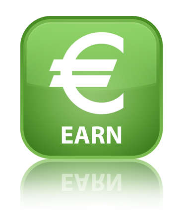earn: Earn (euro sign) soft green square button