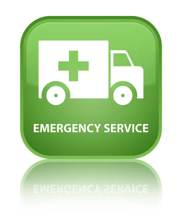 heathcare: Emergency service soft green square button Stock Photo