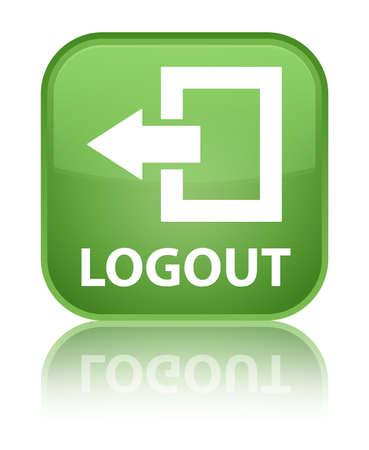 Logout soft green square button photo