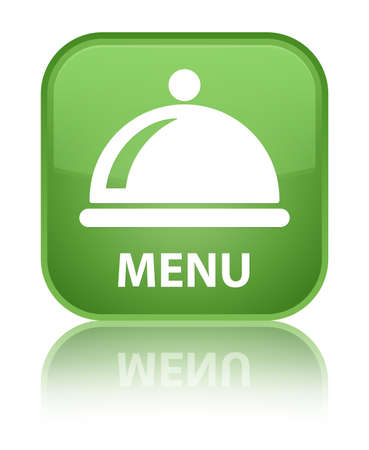Menu (food dish icon) soft green square button photo