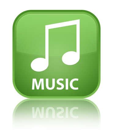 tune: Music (tune icon) soft green square button Stock Photo