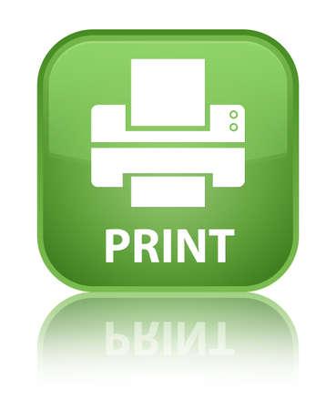 toner: Print (printer icon) soft green square button Stock Photo