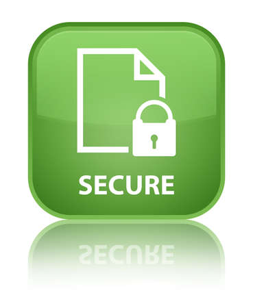 encrypted files icon: Secure (document page padlock icon) soft green square button