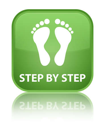 green footprint: Step by step (footprint icon) soft green square button
