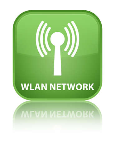 wlan: Wlan network soft green square button Stock Photo
