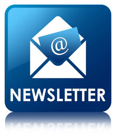 Nieuwsbrief blauwe knop vierkante Stockfoto - 39462418