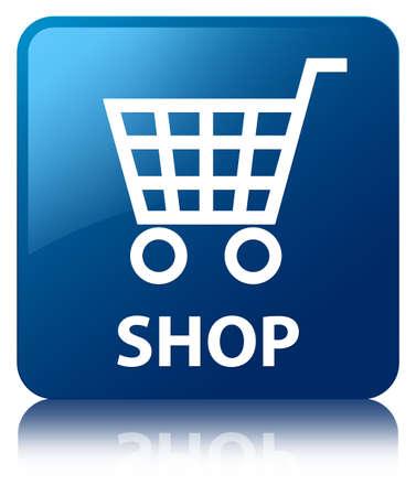 technology transaction: Shop blue square button