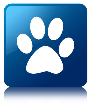 footprint: Animal footprint icon blue square button Stock Photo