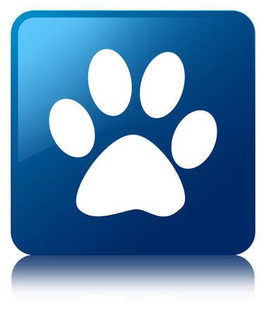 huellas de perro: Animal Pisada botón cuadrado azul Foto de archivo