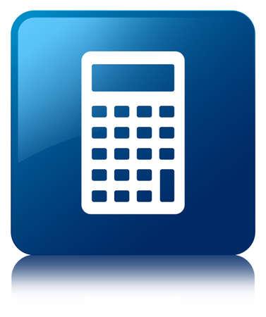 calculus: Calculator icon blue square button