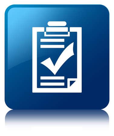 Checklist icon blue square button photo