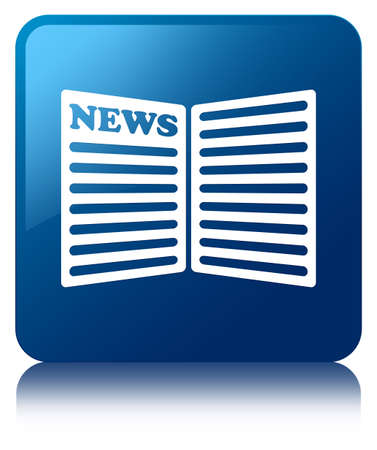 news current events: Newspaper icon blue square button