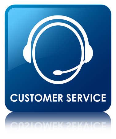 servicio al cliente: Atención al cliente (icono de atención al cliente) botón cuadrado azul Foto de archivo