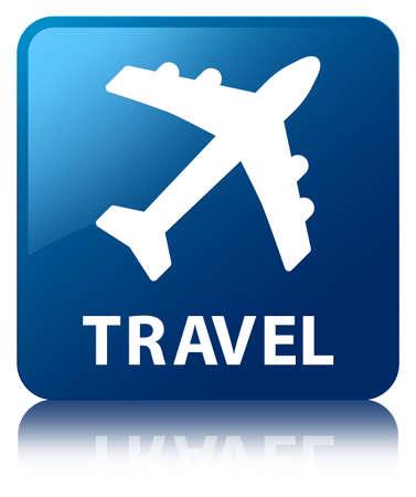 airway: Travel (plane icon) blue square button Stock Photo
