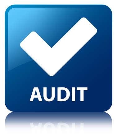 valider: Audit (validate ic�ne) de bouton bleu carr� Banque d'images