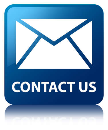 sms icon: Contact us (email icon) blue square button Stock Photo