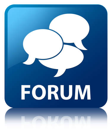 Forum (comments icon) blue square button photo