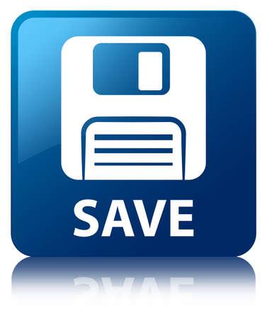 (フロッピー ディスクのアイコン) ブルー保存正方形ボタン 写真素材
