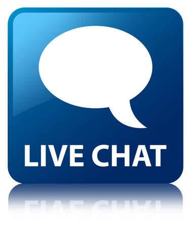 glossy icon: Live chat blue square button