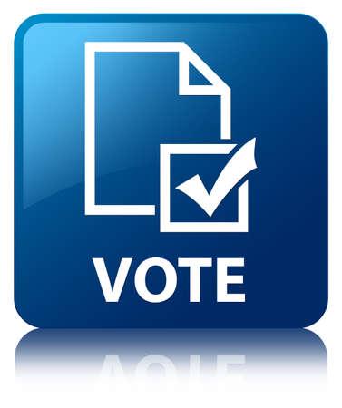 Vote (survey icon) blue square button photo