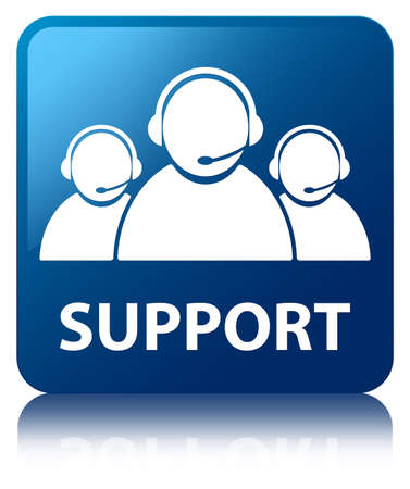 customer care: Support (customer care team icon) blue square button