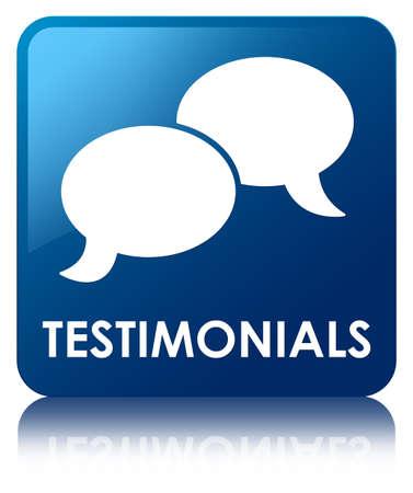 authenticate: Testimonials (chat icon) blue square button