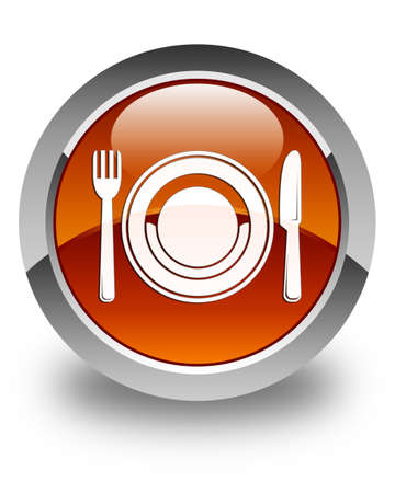 food plate: Food plate icon glossy brown round button Stock Photo
