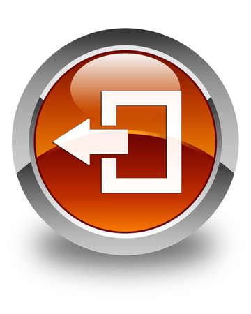 logout: Logout icon glossy brown round button Stock Photo