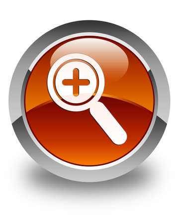 focus on shadow: Zoom in icon glossy brown round button Stock Photo