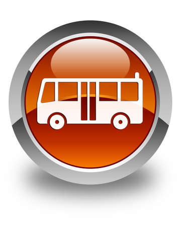 transportation icons: Bus icon glossy brown round button Stock Photo